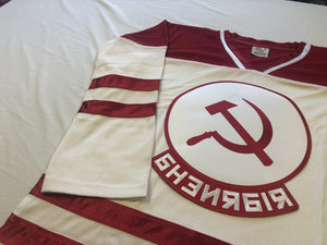 Custom hockey jerseys with Russian twill team logo.