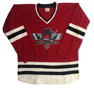 Custom hockey jerseys with the Blitzkrieg logo
