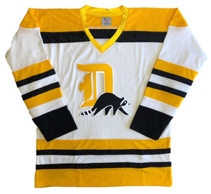 "Custom Hockey Jerseys with a ""D"" Embroidered Twill Logo $59"