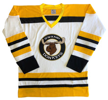 Load image into Gallery viewer, Custom hockey jerseys with the Swamp Donkeys team logo.