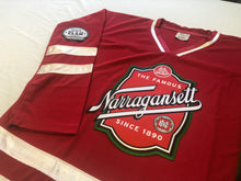 Load image into Gallery viewer, Custom hockey jerseys with the Narragansett logo and shoulder crests