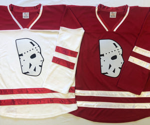 Custom Hockey Jerseys with a Twill Goalie Mask Logo $59