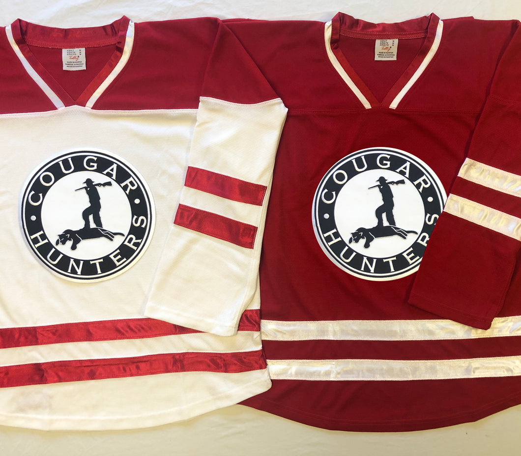 Custom hockey jersey with the Cougar Hunters logo