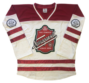 Custom hockey jerseys with the Narragansett logo and shoulder crests