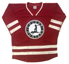 Load image into Gallery viewer, Custom hockey jersey with the Cougar Hunters logo