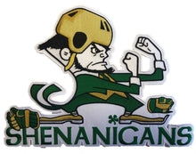 Load image into Gallery viewer, The Shenanigan's embroidered twill team logo.