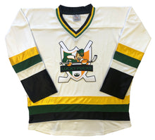 Load image into Gallery viewer, Custom hockey jerseys with the Lucky Pucks logo