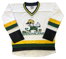 Load image into Gallery viewer, Custom hockey jersey with the Shenanigan's team logo.