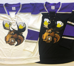 Custom hockey jerseys with a Moose with Beer Antlers twill logo.