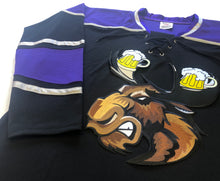 Load image into Gallery viewer, Custom hockey jerseys with a Moose with Beer Antlers twill logo.