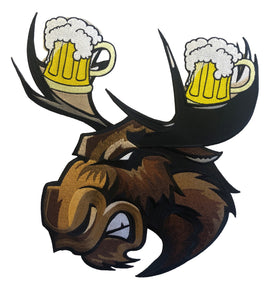 Moose with Beer Antlers embroidered twill logo.