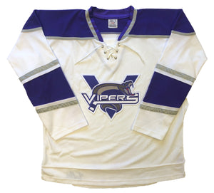 Custom hockey jerseys with the Vipers embroidered twill team logo.