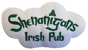 The Shenanigans Irish Pub embroidered twill team logo.
