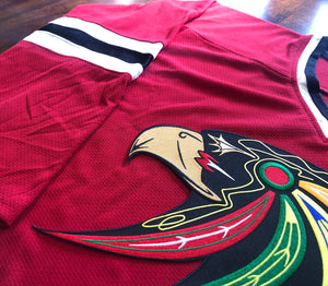 Custom Hockey Jerseys with a Blackhawk Twill Team Logo $59