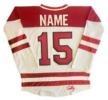 Load image into Gallery viewer, Custom Hockey Jerseys with a Red and White Moose Twill Logo $59
