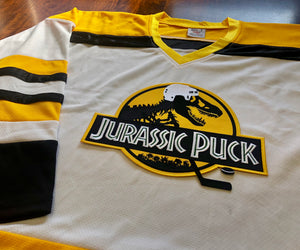 Custom Hockey Jerseys with a Jurassic Puck Embroidered Twill Logo $59