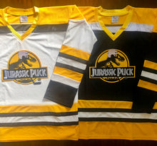 Load image into Gallery viewer, Custom Hockey Jerseys with a Jurassic Puck Embroidered Twill Logo $59