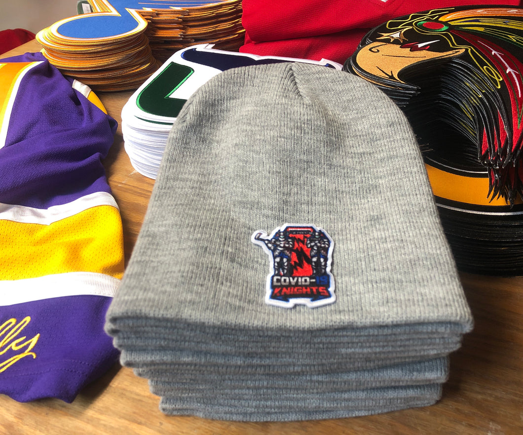 Beanie (Grey) with a Knights crest / logo $29
