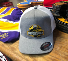 Load image into Gallery viewer, Flex-Fit Hat with Jurassic Puck crest / logo $39 (Grey / White)