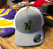 Load image into Gallery viewer, Flex-Fit Hat with a North Stars crest / logo $39 (Grey / White)