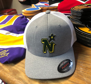 Flex-Fit Hat with a North Stars crest / logo $39 (Grey / White)