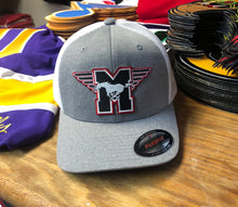 Load image into Gallery viewer, Flex-Fit Hat with a Mustangs crest / logo $39 (Grey / White)