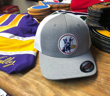 Load image into Gallery viewer, Flex-Fit Hat with a Scouts crest / logo $39 (Grey / White)