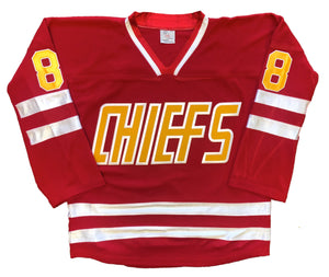 Custom Hockey Jerseys with a CHIEFS Twill Logo $59
