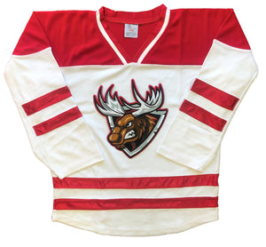 Custom Hockey Jerseys with a Red and White Moose Twill Logo $59