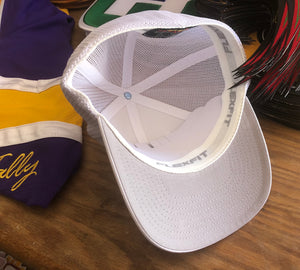 Flex-Fit Hat with a Hawk embroidered twill logo $39 (White / White)