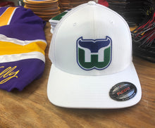 Load image into Gallery viewer, Flex-Fit Hat with a Whalers crest / logo $42 (White / White)