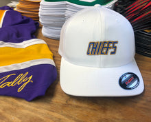 Load image into Gallery viewer, Flex-Fit Hat with a Chiefs embroidered twill logo $42 (White / White)