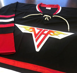 Custom Hockey Jerseys with a Van Halen Embroidered Twill Logo $59
