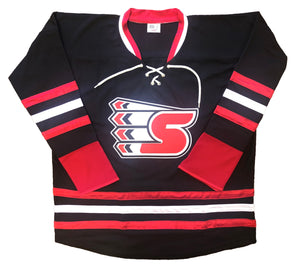"Custom Hockey Jerseys with a ""S"" Embroidered Twill Logo $59"