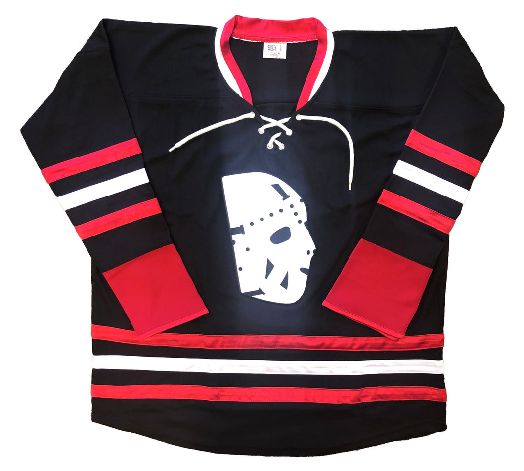 Custom Hockey Jerseys with a Goalie Mask Embroidered Twill Logo $59