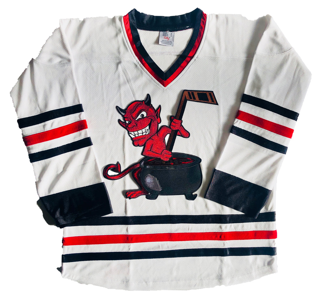 Custom Hockey Jerseys with a Devil w/Cauldron Twill Logo $59