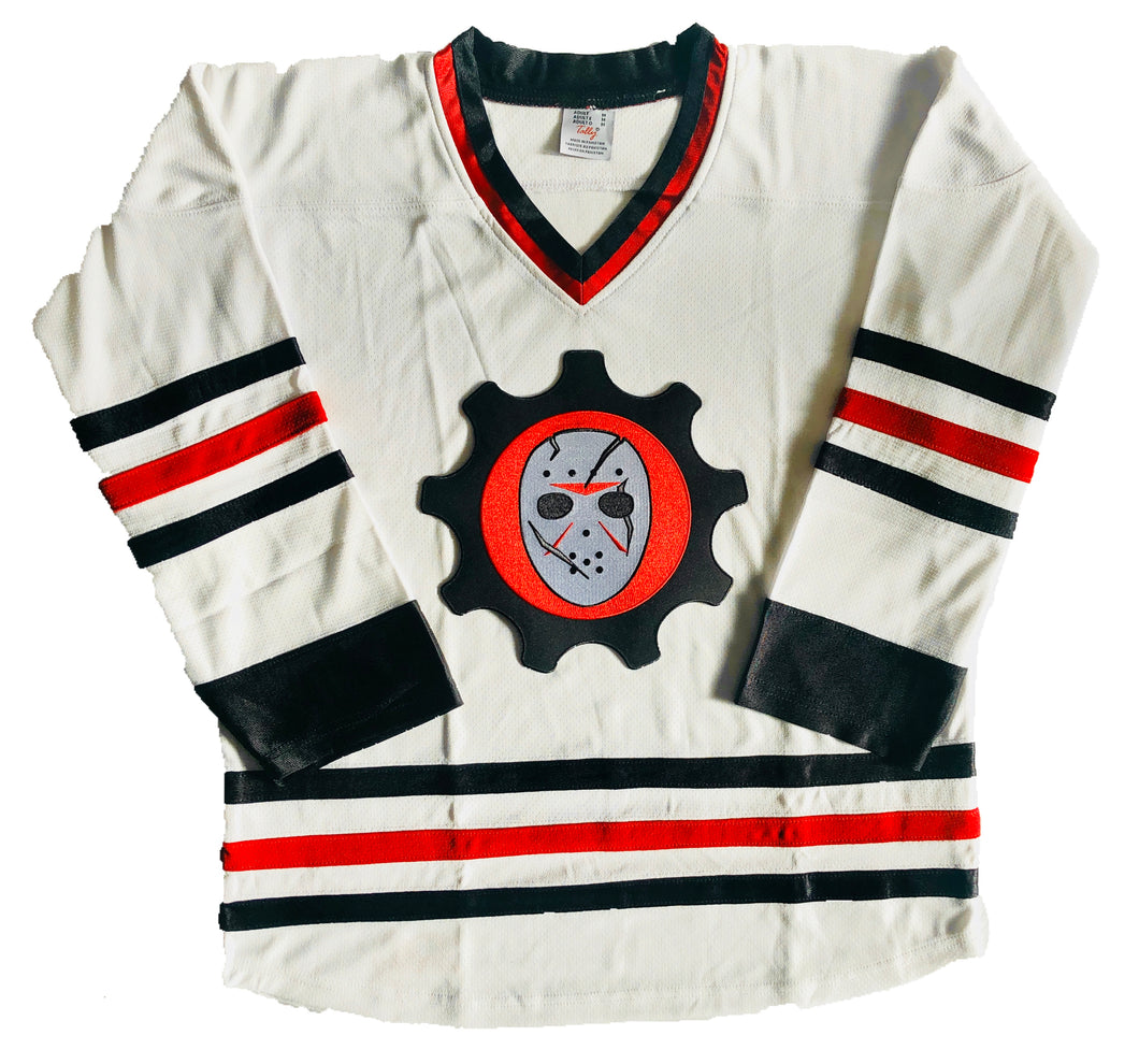 Custom Hockey Jerseys with the Scar Goalie Mask Team Logo $59