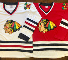 Load image into Gallery viewer, Custom Hockey Jerseys with a Blackhawk Logo and Shoulder Patches