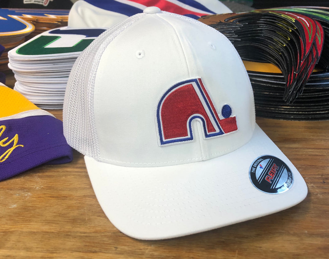Flex-Fit Hat with a Nordiques style crest / logo $39 (White / White)