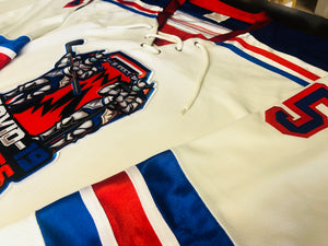 Custom hockey jerseys with the COVID-19 logo