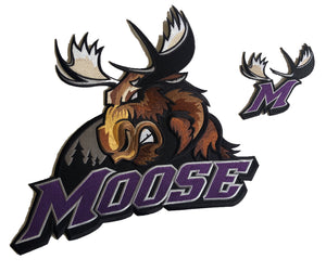 The embroidered twill Moose logo and shoulder crests