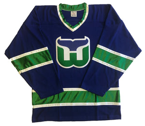 Custom hockey jerseys with the Whalers logo