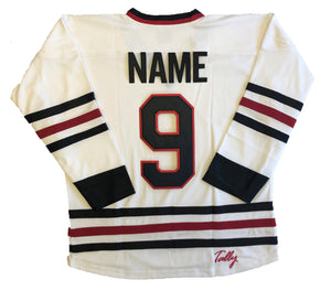 Custom hockey jersey with Scar Goalie Mask embroidered twill team logo.