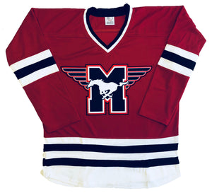 Custom Hockey jerseys with the Mustangs logo