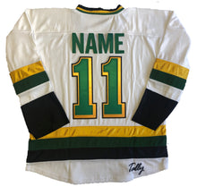 Load image into Gallery viewer, Custom hockey jerseys with Rolling Rocks twill team logo.
