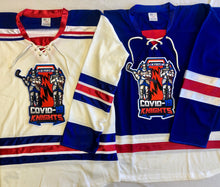Load image into Gallery viewer, Custom hockey jerseys with the COVID-19 logo