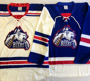 Custom hockey jerseys with the Polar Beers logo