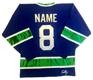 Custom Hockey Jerseys with the Johnny Canuck Twill Logo $59