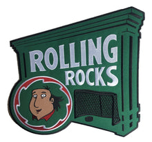 Load image into Gallery viewer, Rolling Rocks embroidered twill team logo.