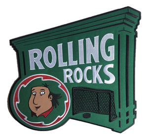Rolling Rocks embroidered twill team logo.